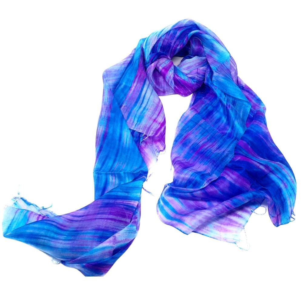 Purple and Blue Silk Scarf