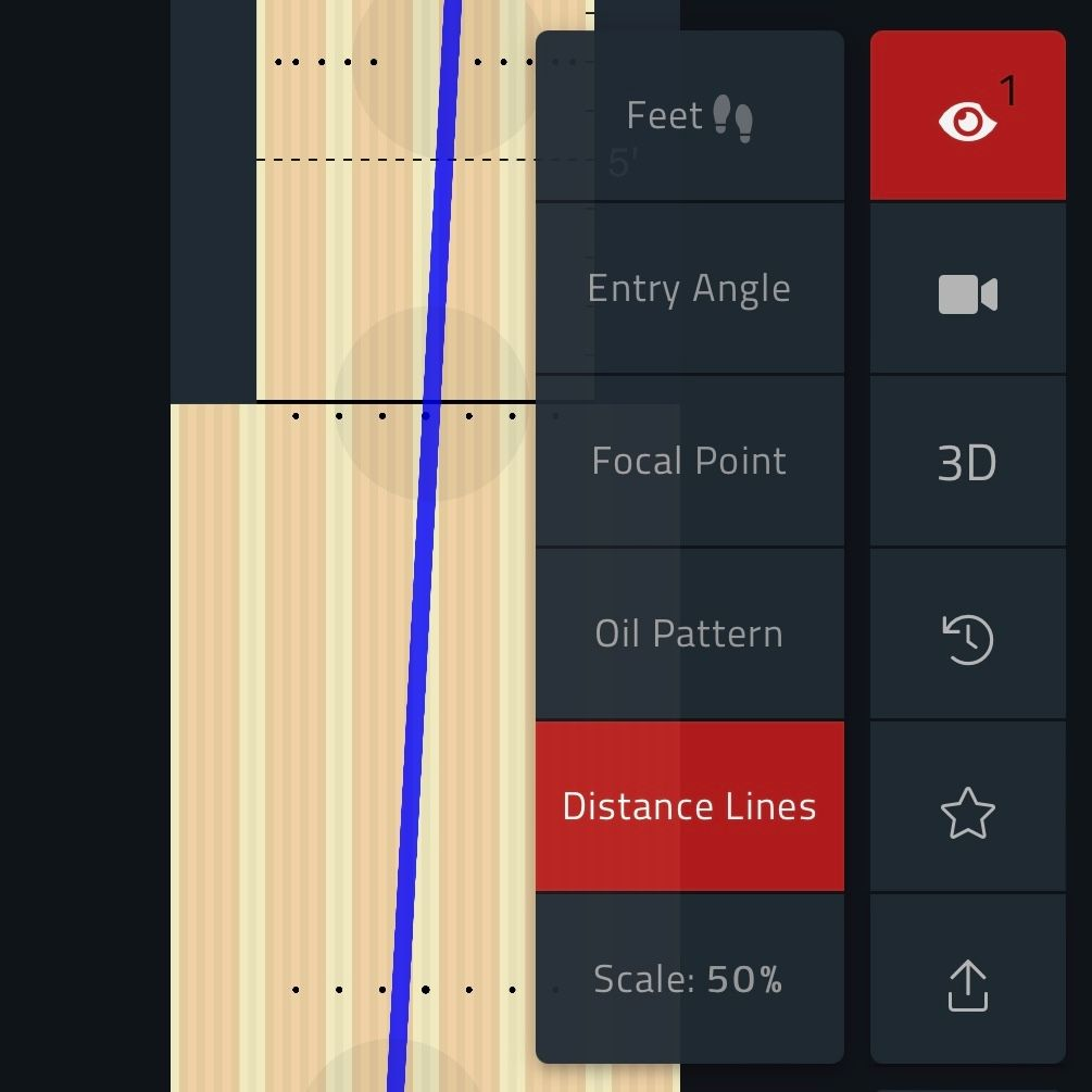 Bowling lane overlay options in Tenpin Toolkit Angles and Targeting tool