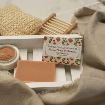 Shave, Shower, Shampoo Bar Pink Grapefruit for Normal - Oily Scalp & Hair