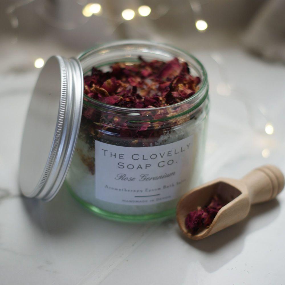 Rose Geranium Aromatherapy Epsom Bath Salts 250g