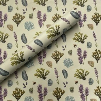 Lavender and Shells Hand Drawn Gift Wrap