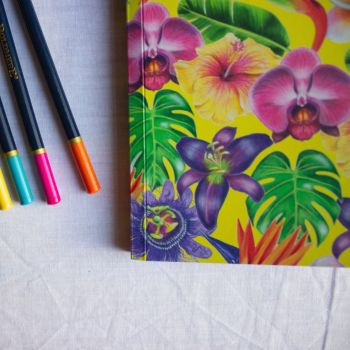 Tropical Flowers Notebook  A5 100 Pages