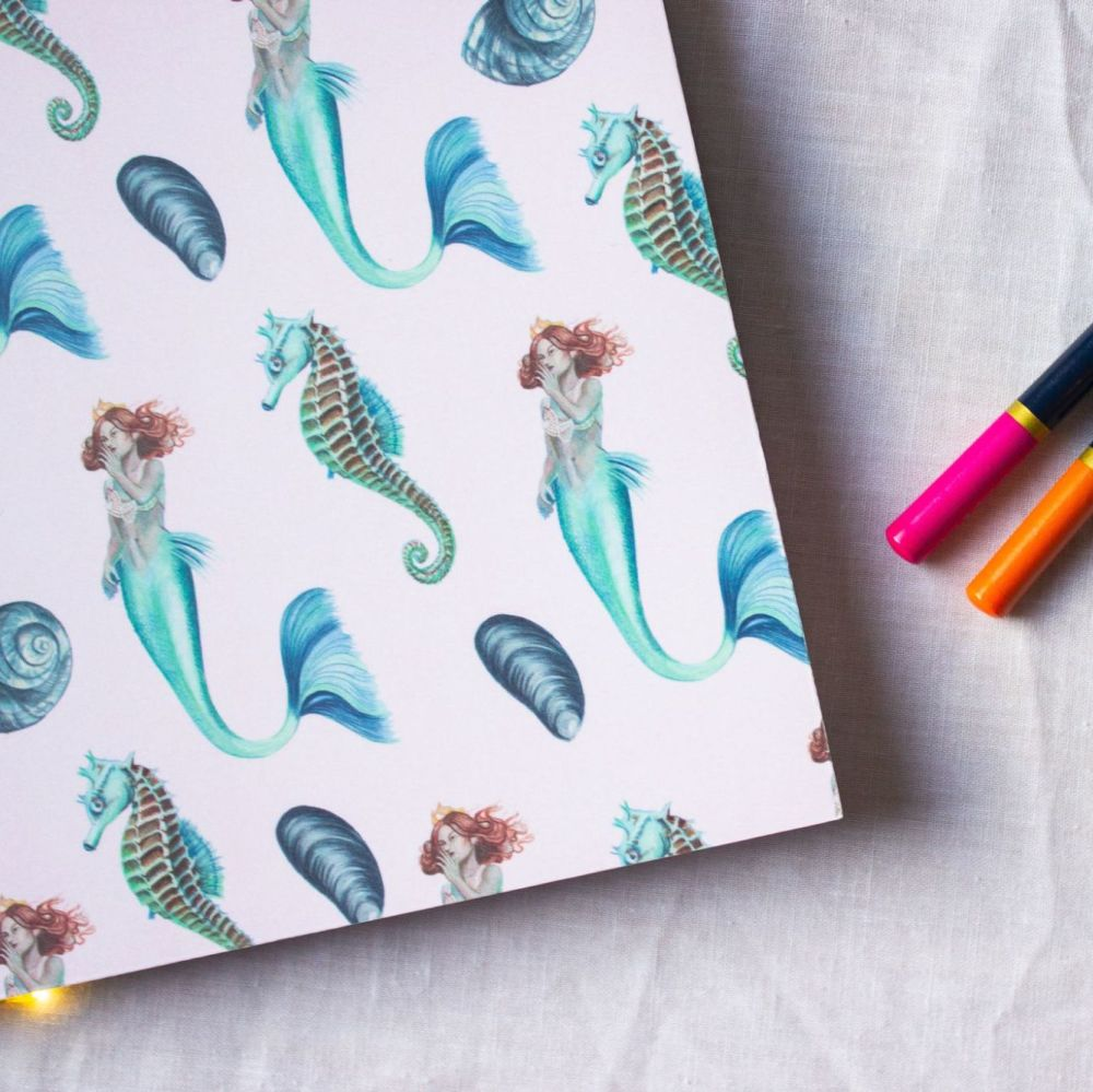 Mermaid and Seahorse Notebook  A5 100 Pages