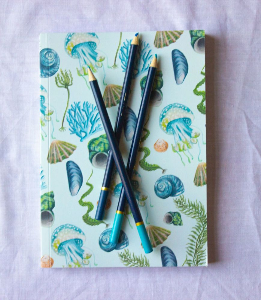 Seaweed and Shells Notebook  A5 100 Pages