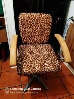 Giraffe fur swivel chair with arms