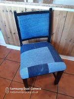 Denim covered wood chair no.1