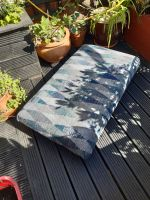 Family Sized Footstool in blue woolen like material