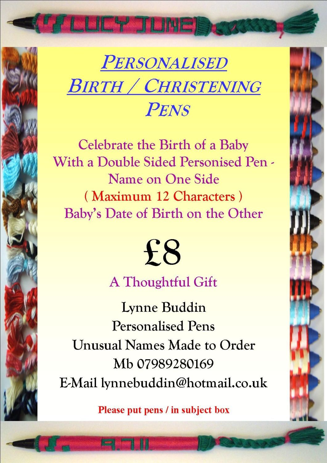 Birth & Christening Pens