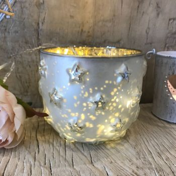 **SALE**  Silver and Gold Star Candle Holder