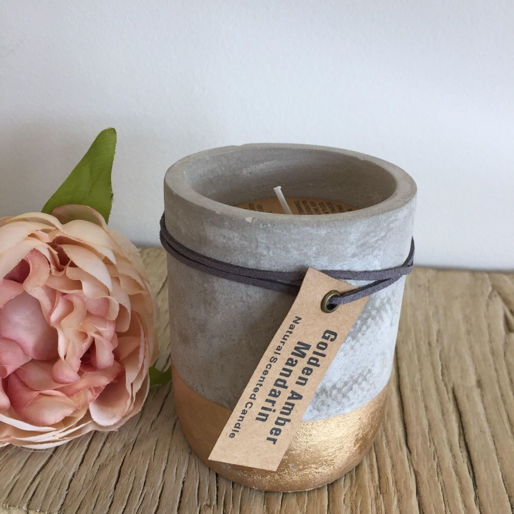 Small concrete gold dipped candle