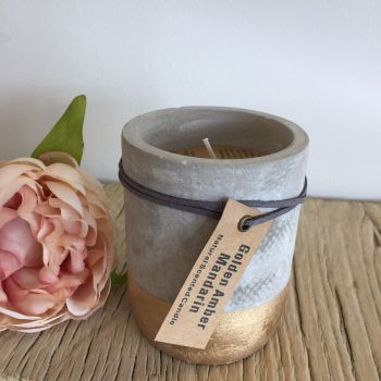 **SALE**  Small concrete gold dipped candle