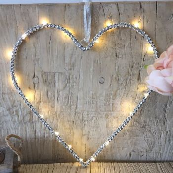 Hanging LED Light Up Silver Heart