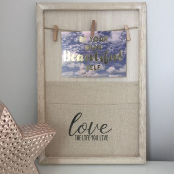 **SALE**  Love The Life You Live Canvas & Peg Memo Board