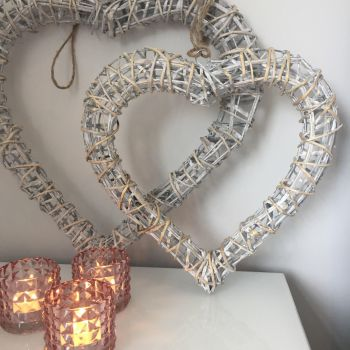 **SALE**  White Willow Heart Hanging Decoration - Small