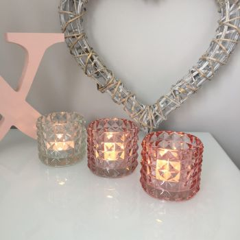 **SALE**  Coloured Diamond Ridged Tea-Light Holders