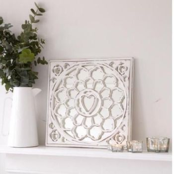 White distressed Mirror Panel