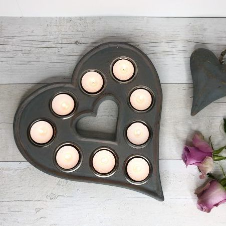 Grey Heart Tea Light Holder