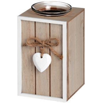 **SALE**  Wooden Heart Detail Tea Light Holder