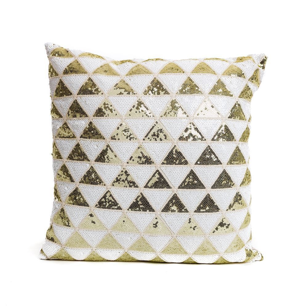 Gold and White Triangle Sequin Cushion