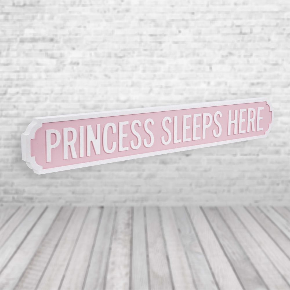 Princess sleeps here vintage street sign pink and white pretty interiors