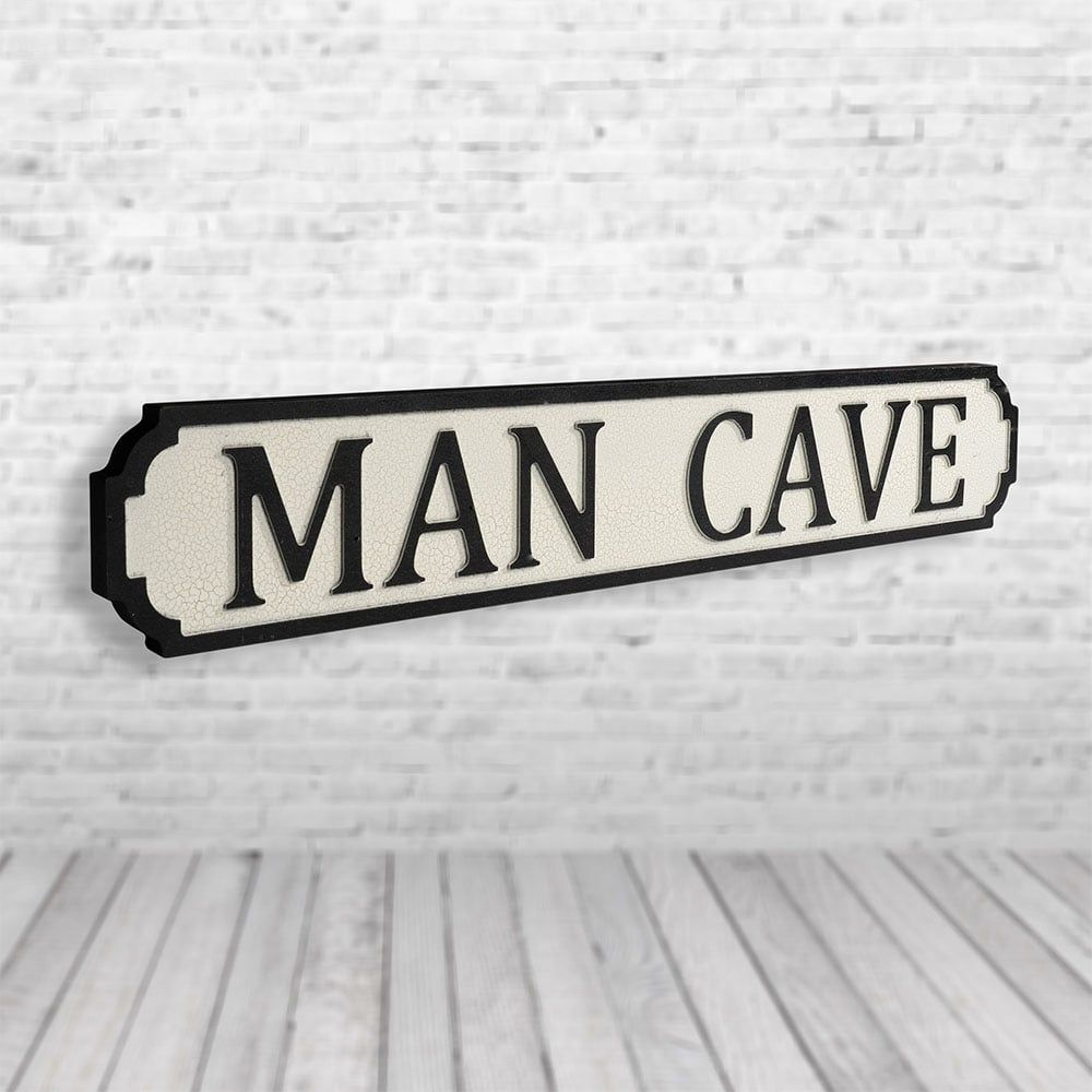 Man cave vintage street sign black and white pretty interiors
