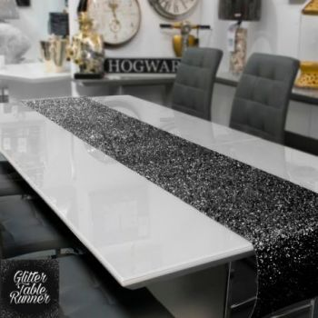 Small Black Glitter Table Runner 1.66m