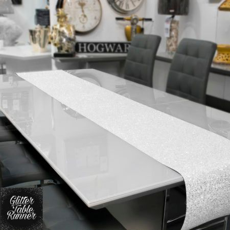 Small White Glitter Table Runner 1.66m