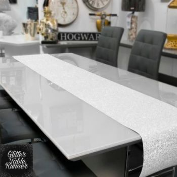 Large White Glitter Table Runner 2.5m