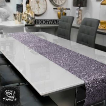 Large Gunmetal Glitter Table Runner 2.5m