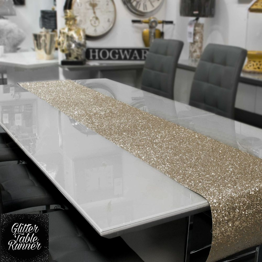 Large Champagne Glitter Table Runner 2.5m
