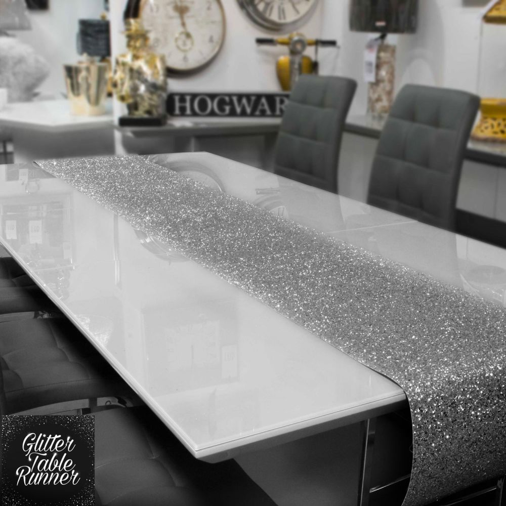 Large Silver Glitter Table Runner