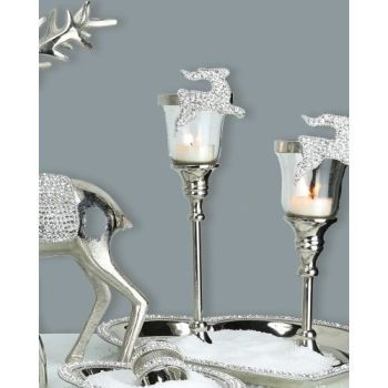 Nickel Glitz Reindeer Candle Holder Large
