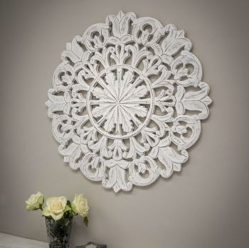**SALE**  Decorative Round Carved Wall Panel
