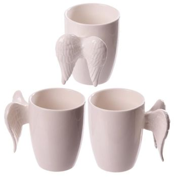 Ceramic Angel Wings Mug Cream
