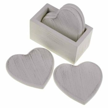 Set of Four White Wooden Heart Coasters