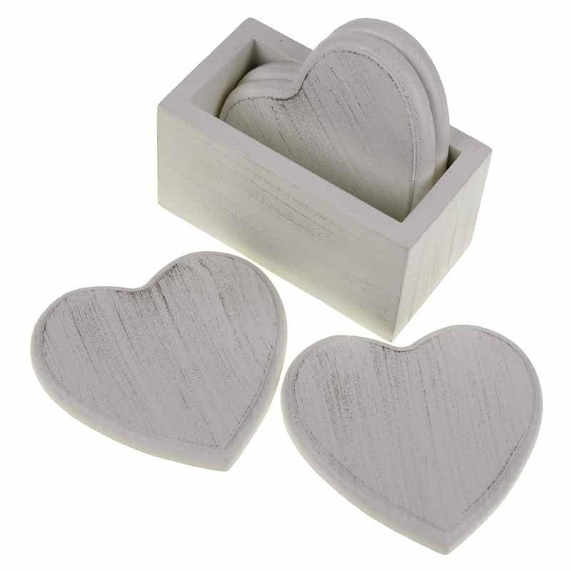 Set of 4 White Wooden Heart Coasters