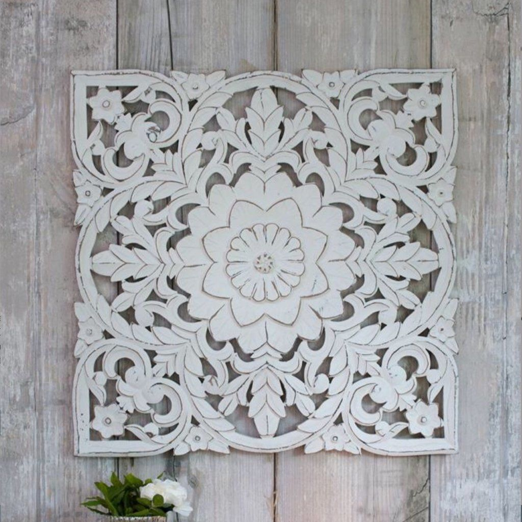 White Hand Carved Wall Panel