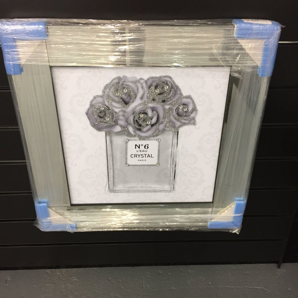 **OFFER**  GREY AND SILVER PERFUME AND ROSE DESIGN
