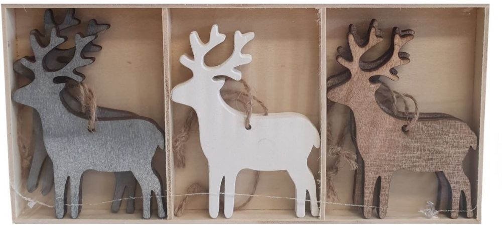 Grey/White Hanging Reindeer Set