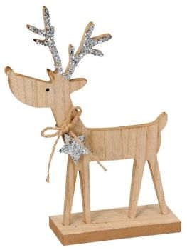 **REDUCED** WAS £6.00 NOW £4.00 Sparkly Silver Wooden Reindeer (27cm)