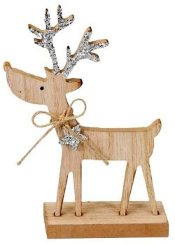 **REDUCED** WAS £4.00 NOW £2.50 Sparkly Silver Wooden Reindeer (19.5cm)
