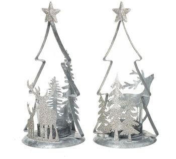 **REDUCED** WAS £9.95 NOW £6.50 Silver Glitter Tree T-Light Holders