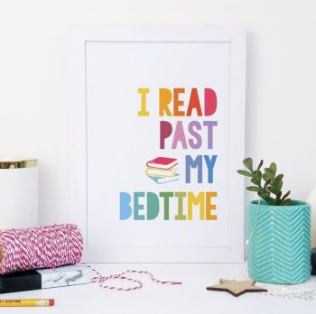 A5 'I Read Past My Bedtime' Rainbow Print