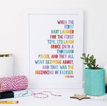 A5 Peter Pan 'Beginning of Fairies' Heartwarming Rainbow Print