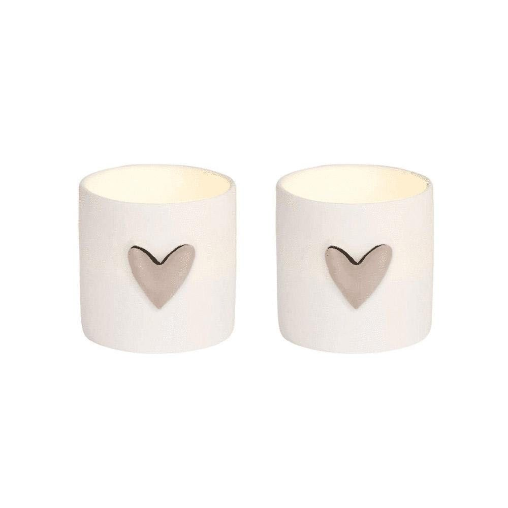 Silver Hearts Tea Light SET OF 2