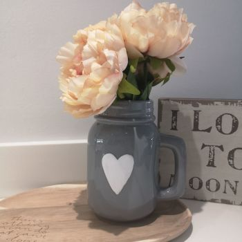 Grey Ceramic Jug with White Heart