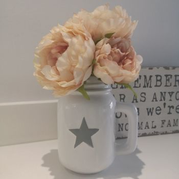 White Ceramic Jug with Grey Star