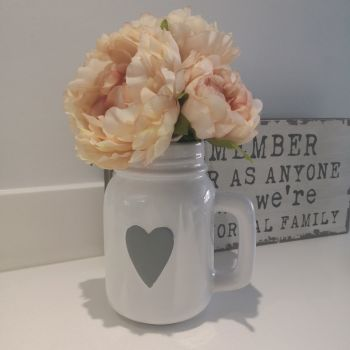 White Ceramic Jug with Grey Heart