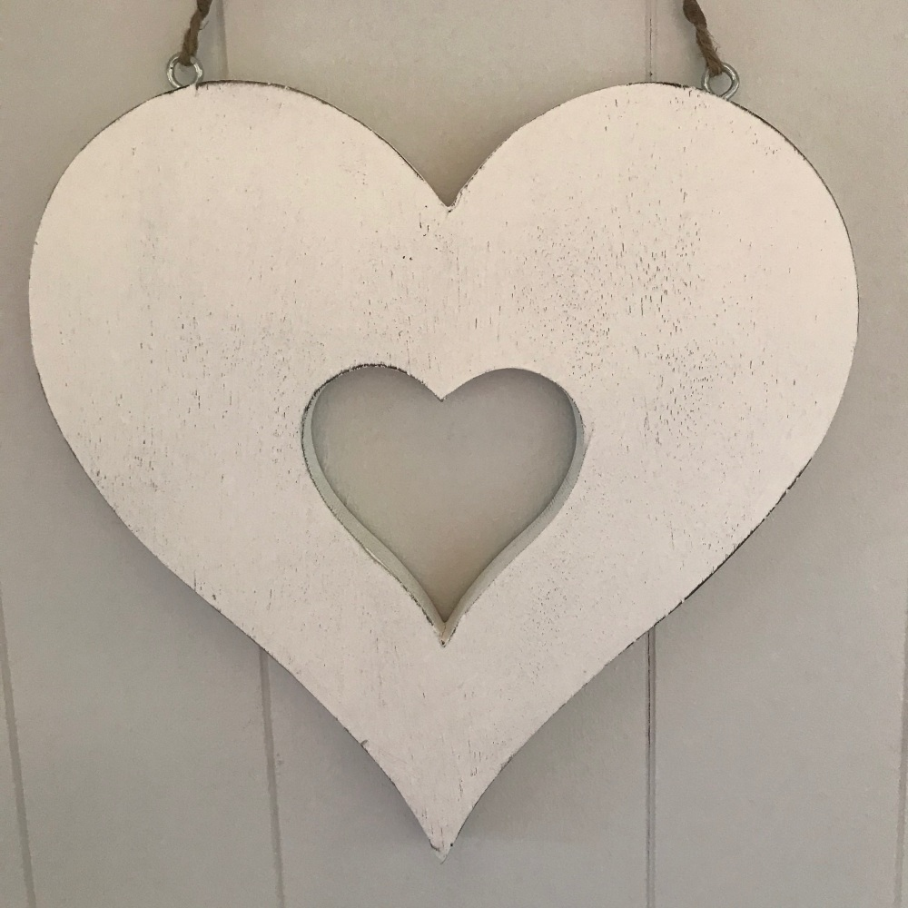 Chunky White Hanging Heart