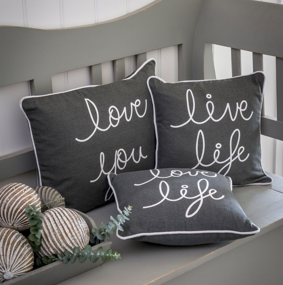 Live Love Life Slogan Cushions